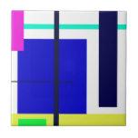 Geometric Design Blue Square Tile