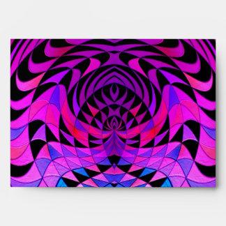 Geometric Design Bright Purple Black Fractal Envelope