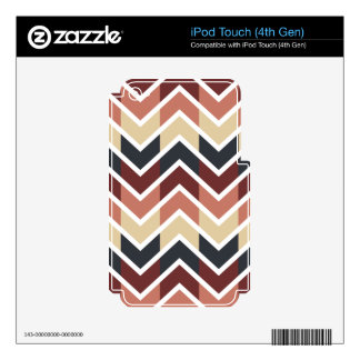 Geometric Designs Color Wine, Teal, Beige, Salmon Decal For iPod Touch 4G