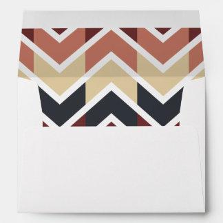 Geometric Designs Color Wine, Teal, Beige, Salmon Envelope