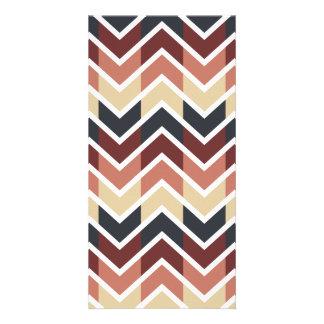Geometric Designs Color Wine, Teal, Beige, Salmon Custom Photo Card