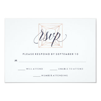 Geometric Diamond Wedding RSVP Midnight Blue Text Card