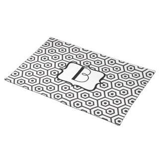 Geometric Diamonds Pattern Monogram Placemat
