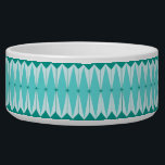 """Geometric Diamonds & Starbursts Ceramic Pet Bowl<br><div class=""""desc"""">This Geometric Diamonds & Starbursts Ceramic Pet Bowl has all of the kitschy charm of something that is kitschy and charming. The vintage inspired design features a mod, peacock blue background with light blue, elongated hexagons, layered with turquoise diamonds, and peacock blue starbursts. It's a kaleidoscope of retro goodness! This...</div>"""
