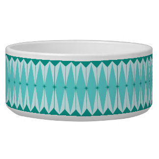 Geometric Diamonds & Starbursts Ceramic Pet Bowl