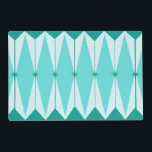 """Geometric Diamonds &amp; Starbursts Placemat<br><div class=""""desc"""">This Geometric Diamonds &amp; Starbursts Laminated Placemat has all of the kitschy charm of something that is kitschy and charming. The vintage inspired design features a mod, peacock blue background with light blue, elongated hexagons, layered with turquoise diamonds, and peacock blue starbursts. It's a kaleidoscope of retro goodness! This 1950's...</div>"""