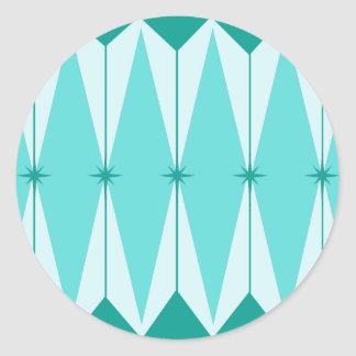 Geometric Diamonds & Starbursts Round Stickers