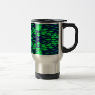 Geometric Diffraction Green and Blue Trippy Waves Travel Mug