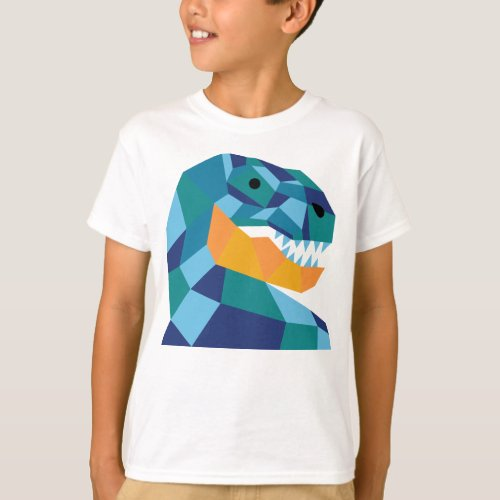 Geometric dinosaur t_shirt for kids _ T_Rex