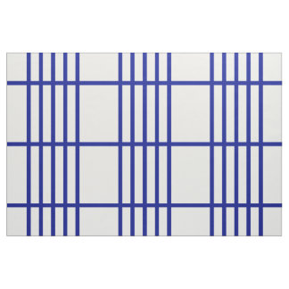 Geometric Divided Blue Stripes Pattern Fabric