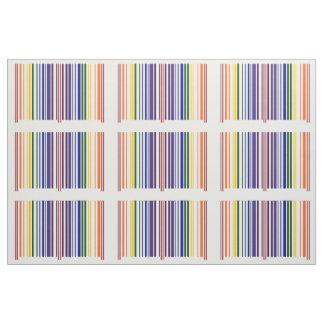 Geometric Double Rainbow Barcode Pattern Fabric