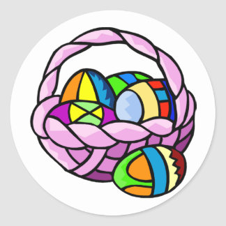 Geometric Eggs in Basket Sticker Sticker