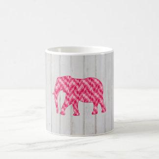 Geometric Elephant on Wood Design Coffee Mug