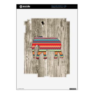 Geometric Elephant on Wood Design iPad 2 Skins