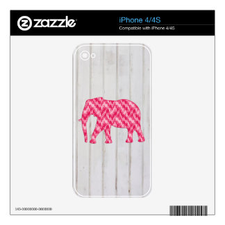 Geometric Elephant on Wood Design Decal For iPhone 4