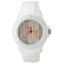 Geometric Elephant on Wood Design Wrist Watch