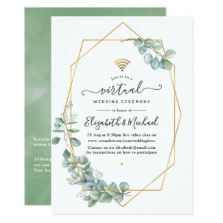 Greenery and Gold Wedding Invitations, Geometric Eucalyptus online virtual