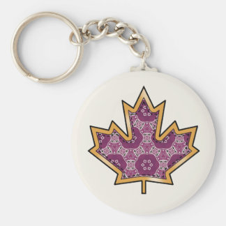 Geometric Fabric Pattern Collection - Maroon 02 Basic Round Button Keychain