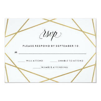 Geometric Faux Gold and Black Text Wedding RSVP Card