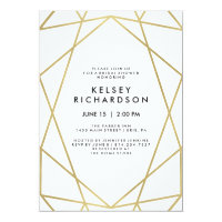 Geometric Faux Gold Look on White Bridal Shower Card