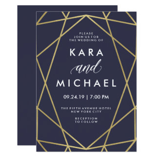 Geometric Faux Gold on Midnight Blue Wedding Card