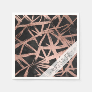 Geometric faux rose gold brushstrokes triangles paper napkin