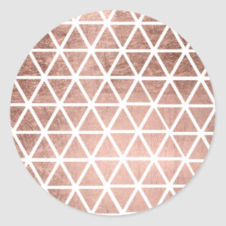 Geometric faux rose gold foil triangles pattern classic round sticker