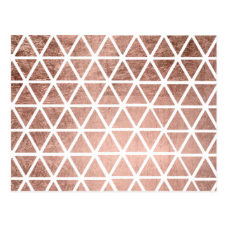 Geometric faux rose gold foil triangles pattern postcard