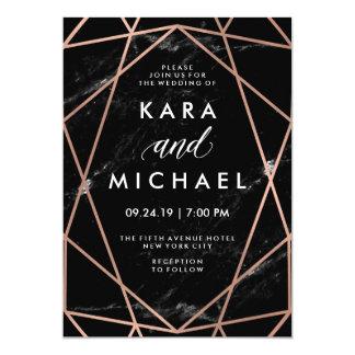 Geometric Faux Rose Gold on Black Marble Wedding Card