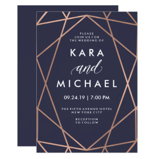 Geometric Faux Rose Gold on Midnight Blue Wedding Card