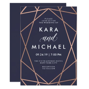 Customize_My_Wedding Geometric Faux Rose Gold on Midnight Blue Wedding Card