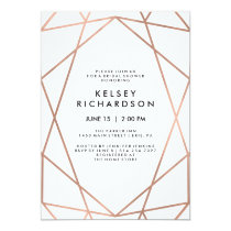 Geometric Faux Rose Gold on White Bridal Shower Invitation
