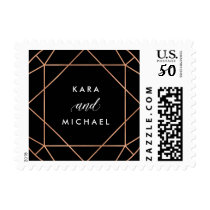 Geometric Faux Rose Gold Pattern on Black Postage