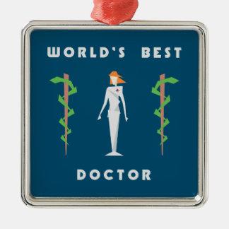 Geometric Female World's Best Doctor Metal Ornament