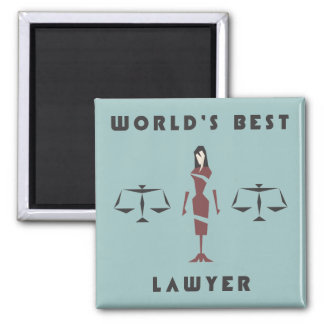 Geometric Female World's Best Lawyer 2 Inch Square Magnet