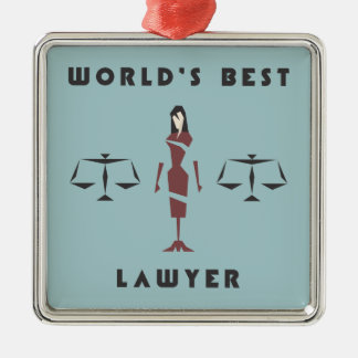 Geometric Female World's Best Lawyer Metal Ornament