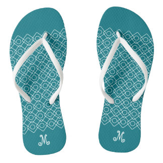 Geometric Filigree with Custom Monogram Flip Flops