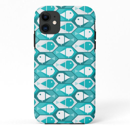 Geometric Fish Pattern Winter Theme iPhone 11 Case
