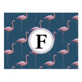 Geometric Flamingo Print Customisable Initial Postcard