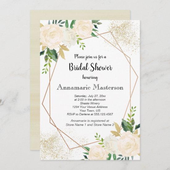 Geometric Floral Cream White Roses Bridal Shower | Invitation