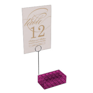 Geometric Floral Hot Pink and Black Place Card Holder