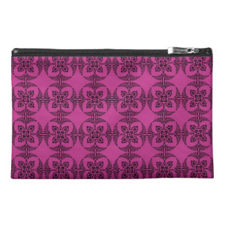 Geometric Floral Hot Pink and Black Travel Accessory Bag