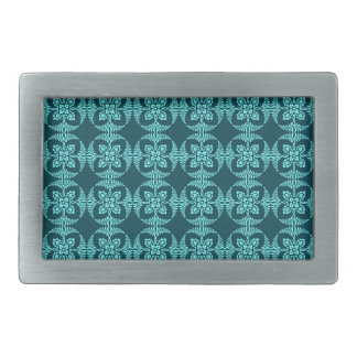 Geometric Floral in Aqua Shades Rectangular Belt Buckle