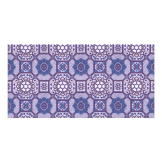 Geometric Floral in Blue and Purple Card