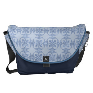 Geometric Floral in Light Blue Courier Bag