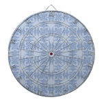 Geometric Floral in Light Blue Dartboard With Darts