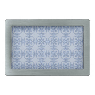 Geometric Floral in Light Blue Rectangular Belt Buckle