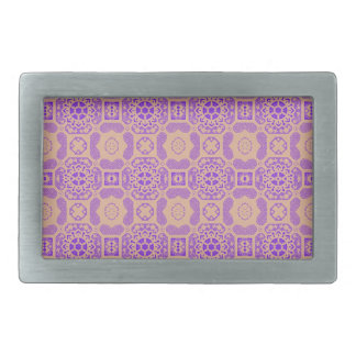 Geometric Floral in Purple and Orange Rectangular Belt Buckle