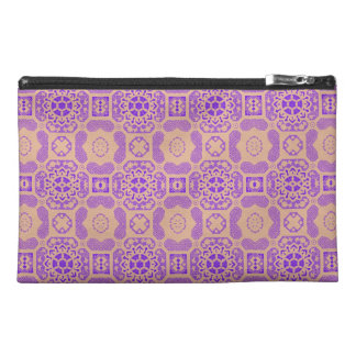 Geometric Floral in Purple and Orange Travel Accessory Bags