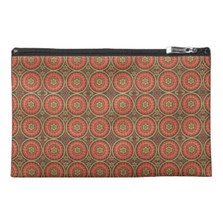 Geometric Floral in Red and Gold Travel Accessories Bag